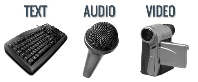 graphic showing a text item, a microphone and a video camera as sourses of digital information