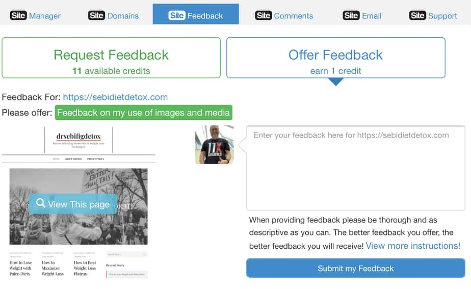 Wealthy Affiliate Review 2020 - Website feedback form at Wealthy Affiliate