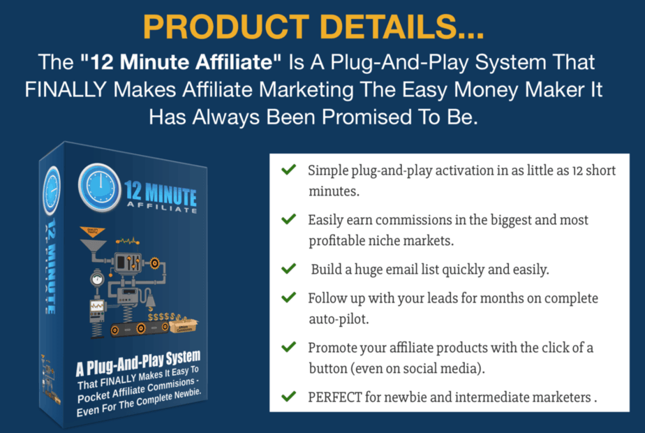 12 minute affiliate review - product details