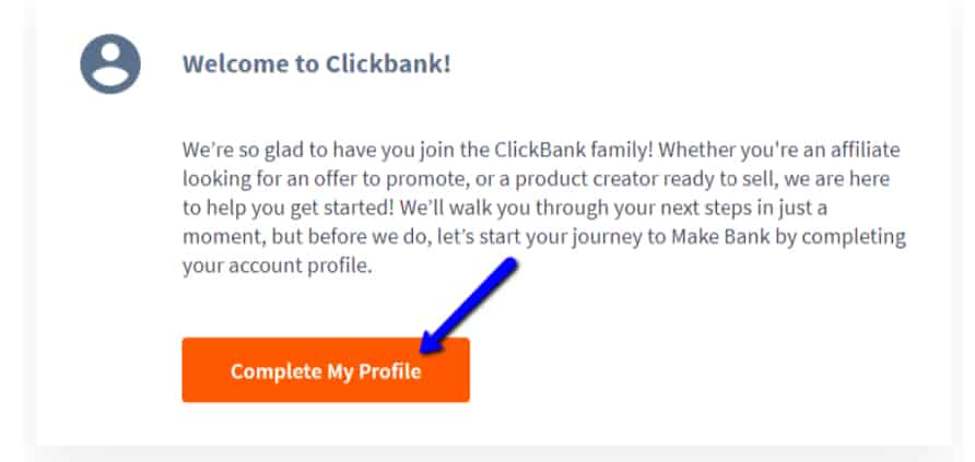 12 Minute Affiliate - Clickbank welcome message