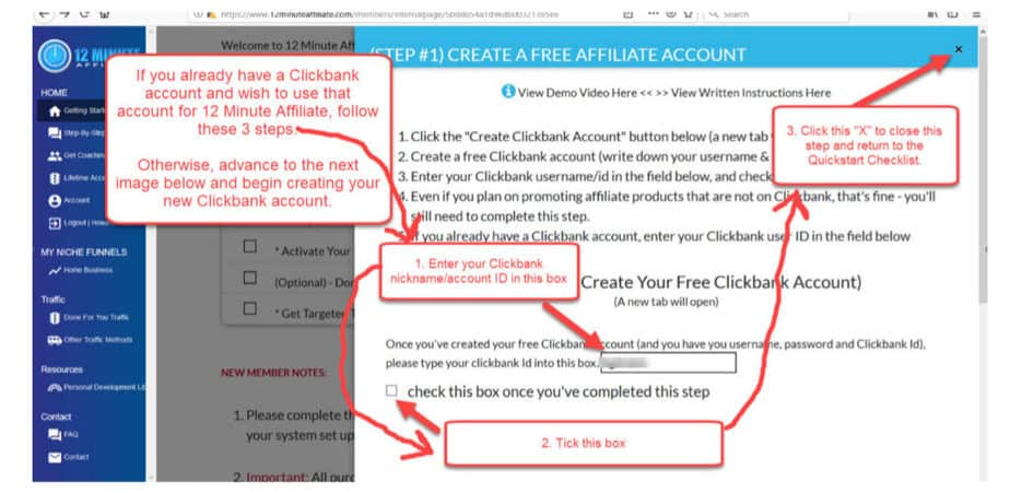 12 Minute Affiliate - If you already have a Clickbank Account