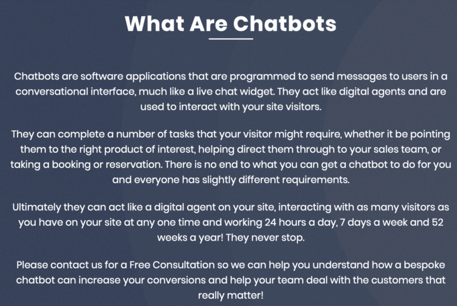 ConversioBot Graphic describing what chatbots are and how they can be used