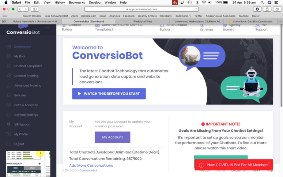 ConversioBot Dashboard showing layout