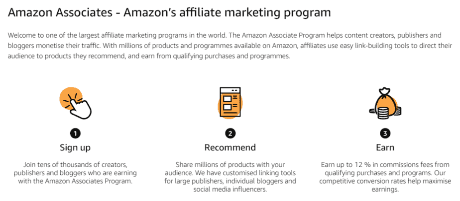 amazon associates intro screen