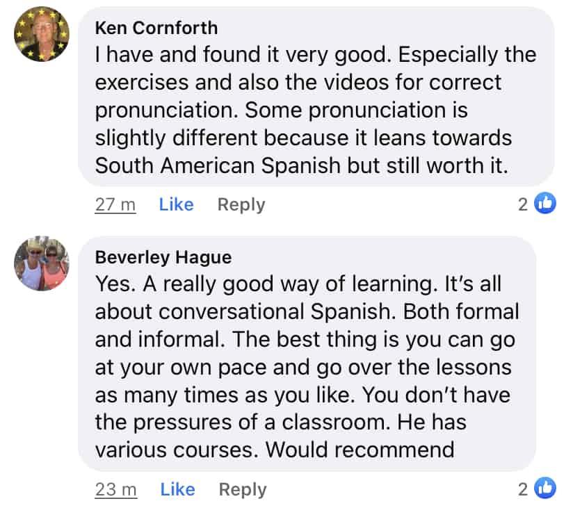 Synergy Spanish testimonials from Facebook